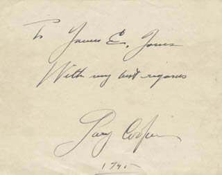 GARY COOPER - AUTOGRAPH NOTE SIGNED 1945