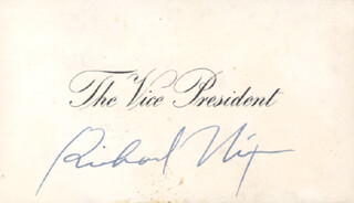 PRESIDENT RICHARD M. NIXON - VICE PRESIDENTIAL CARD SIGNED