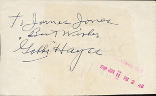GEORGE GABBY HAYES - AUTOGRAPH NOTE SIGNED