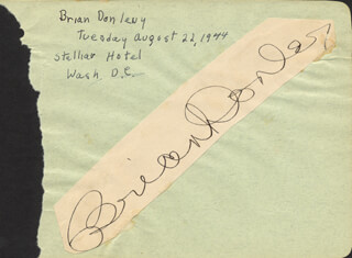BRIAN DONLEVY - AUTOGRAPH CIRCA 1944