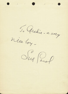 Autographs: SUE CAROL LADD - AUTOGRAPH NOTE SIGNED