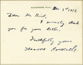 Autographs: PRESIDENT THEODORE ROOSEVELT - AUTOGRAPH LETTER SIGNED 12/08/1916
