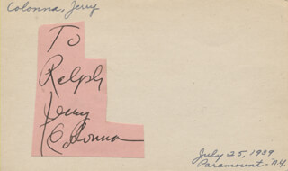 JERRY COLONNA - INSCRIBED SIGNATURE