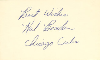 HAL BREEDEN - AUTOGRAPH SENTIMENT SIGNED  - HFSID 49641