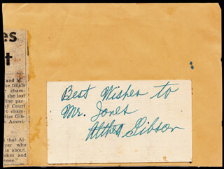 Autographs: ALTHEA GIBSON - INSCRIBED SIGNATURE