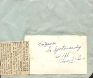 WILT THE STILT CHAMBERLAIN - AUTOGRAPH NOTE SIGNED