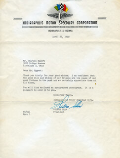 WILBUR SHAW - TYPED LETTER SIGNED 04/23/1948
