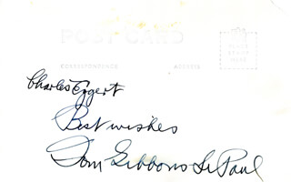 TOM GIBBONS - AUTOGRAPH NOTE ON PICTURE POSTCARD SIGNED