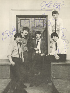 Autographs: THE ANIMALS - BOOK PHOTOGRAPH SIGNED CO-SIGNED BY: THE ANIMALS (ERIC BURDON), THE ANIMALS (DAVE ROWBERRY), THE ANIMALS (BRYAN CHAS CHANDLER), THE ANIMALS (JOHN STEEL), THE ANIMALS (HILTON VALENTINE)