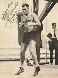 JACK DEMPSEY - INSCRIBED MAGAZINE PHOTO SIGNED 1973