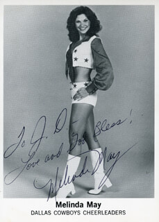 MELINDA MAY - INSCRIBED PRINTED PHOTOGRAPH SIGNED IN INK