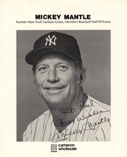 MICKEY MANTLE - INSCRIBED PRINTED PHOTOGRAPH SIGNED IN INK