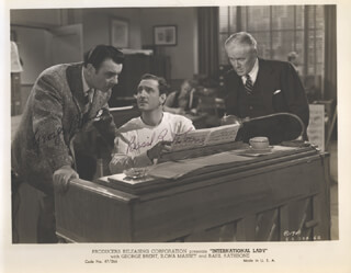 INTERNATIONAL LADY MOVIE CAST - AUTOGRAPHED SIGNED PHOTOGRAPH CIRCA 1941 CO-SIGNED BY: BASIL RATHBONE, GEORGE BRENT