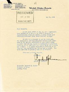 PRESIDENT LYNDON B. JOHNSON - TYPED LETTER SIGNED 05/20/1949