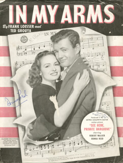 DONNA REED - SHEET MUSIC SIGNED CIRCA 1943