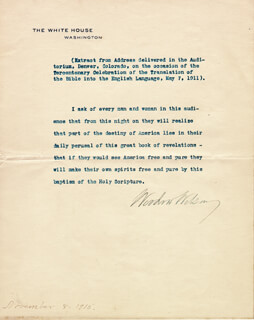 PRESIDENT WOODROW WILSON - TYPED QUOTATION SIGNED 11/08/1915