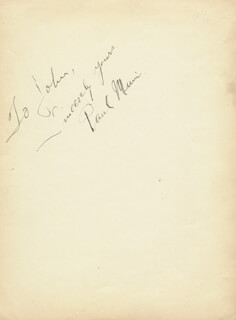 PAUL MUNI - AUTOGRAPH NOTE SIGNED CO-SIGNED BY: LILLIAN ROTH