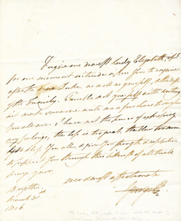 Autographs: KING GEORGE IV (GREAT BRITAIN) - AUTOGRAPH LETTER SIGNED 03/31/1806