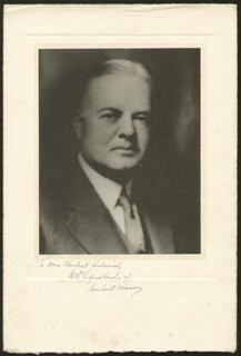 PRESIDENT HERBERT HOOVER - INSCRIBED PHOTOGRAPH MOUNT SIGNED