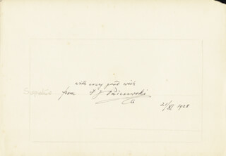 Autographs: IGNACY JAN PADEREWSKI - AUTOGRAPH SENTIMENT SIGNED 11/21/1928
