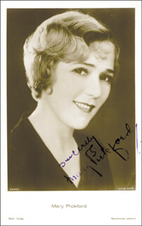 MARY PICKFORD - PICTURE POST CARD SIGNED