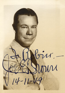 JOE E. BROWN - AUTOGRAPHED INSCRIBED PHOTOGRAPH 11/14/1949