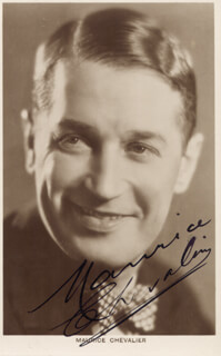 MAURICE CHEVALIER - PRINTED PHOTOGRAPH SIGNED IN INK