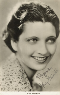 KAY FRANCIS - AUTOGRAPHED SIGNED PHOTOGRAPH