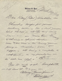 WILLIAM S. HART - AUTOGRAPH LETTER SIGNED 03/20/1933