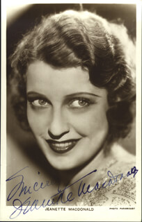 JEANETTE MacDONALD - AUTOGRAPHED SIGNED PHOTOGRAPH