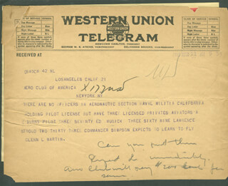 GLENN L. MARTIN - TELEGRAM UNSIGNED 03/22/1916