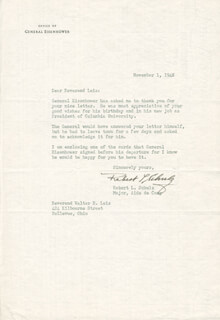 BRIGADIER GENERAL ROBERT L. SCHULZ - TYPED LETTER SIGNED