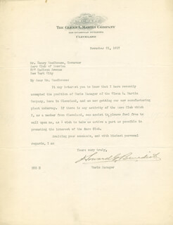 Autographs: HOWARD G. BENEDICT - TYPED LETTER SIGNED 11/21/1917