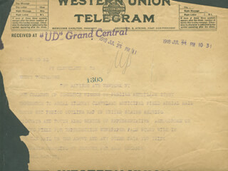 GLENN L. MARTIN - TELEGRAM UNSIGNED 07/23/1918
