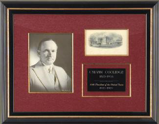 PRESIDENT CALVIN COOLIDGE - WHITE HOUSE ENGRAVING SIGNED