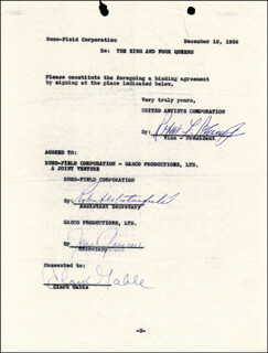 CLARK GABLE - CONTRACT SIGNED 12/19/1956