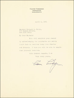 Autographs: PRESIDENT CALVIN COOLIDGE - TYPED LETTER SIGNED 04/02/1931