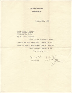Autographs: PRESIDENT CALVIN COOLIDGE - TYPED LETTER SIGNED 10/21/1929