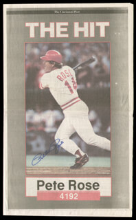 PETE ROSE - NEWSPAPER PHOTOGRAPH SIGNED