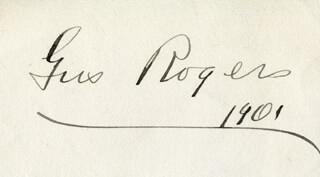 GUS ROGERS - AUTOGRAPH 1901