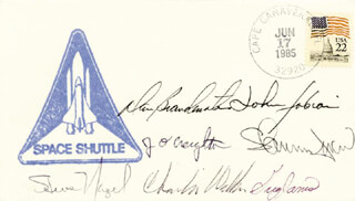 GREG JARVIS - FIRST DAY COVER SIGNED CO-SIGNED BY: CHARLES D. WALKER, CAPTAIN JOHN O. CREIGHTON, CAPTAIN DANIEL C. BRANDENSTEIN, COLONEL JOHN M. FABIAN, COLONEL STEVE NAGEL, SHANNON W. LUCID
