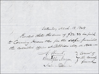 Autographs: PRESIDENT MILLARD FILLMORE - AUTOGRAPH DOCUMENT SIGNED 03/18/1848 CO-SIGNED BY: ALVAH HUNT, CHRISTOPHER MORGAN