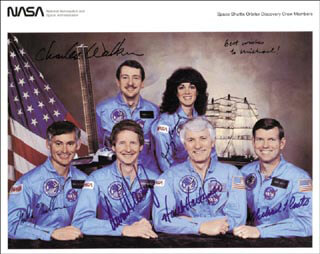 JUDITH A. JUDY RESNIK - AUTOGRAPHED INSCRIBED PHOTOGRAPH CO-SIGNED BY: STEVEN A. HAWLEY, COLONEL RICHARD MIKE MULLANE, COLONEL HENRY HANK HARTSFIELD JR., CAPTAIN MICHAEL L. COATS