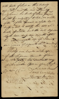 PRESIDENT ANDREW JACKSON - MANUSCRIPT LETTER SIGNED 11/17/1800 CO-SIGNED BY: GOVERNOR ARCHIBALD ROANE, JUDGE DAVID CAMPBELL