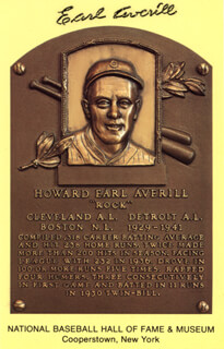 EARL AVERILL SR. - BASEBALL HALL OF FAME PLAQUE POSTCARD SIGNED