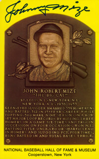 JOHNNY MIZE - BASEBALL HALL OF FAME PLAQUE POSTCARD SIGNED