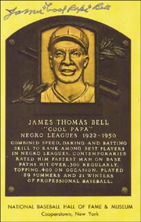 JAMES COOL PAPA BELL - BASEBALL HALL OF FAME PLAQUE POSTCARD SIGNED