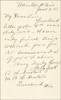 PRESIDENT JAMES A. GARFIELD - AUTOGRAPH LETTER SIGNED 06/25
