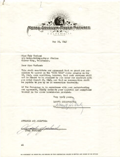JUDY GARLAND - DOCUMENT SIGNED 05/19/1943