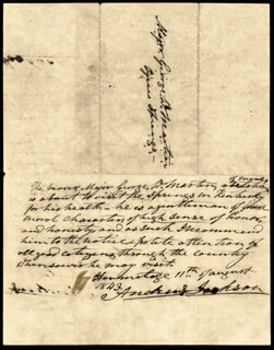 PRESIDENT ANDREW JACKSON - AUTOGRAPH DOCUMENT SIGNED 08/11/1843